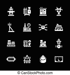 Set icons of power industry isolated on black