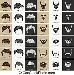 vector set of hairstyles and beards with three colors -...