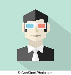 Man Wearing 3D Glasses Icon.