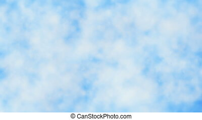 Abstract smoke clouds in white on blue
