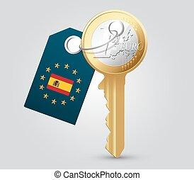 Euro key as money concept - Spain