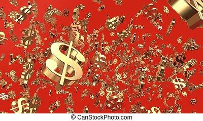 Falling US dollar signs on orange
