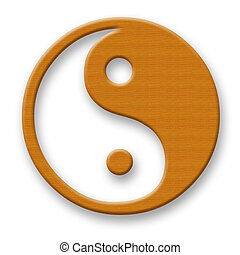 Jin Jang - Wooden Jin Jang Symbol over White Background