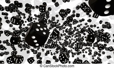Falling dice in black on white