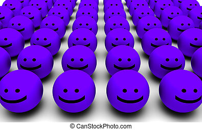 Shiny Happy People Smiling Faces in 3d