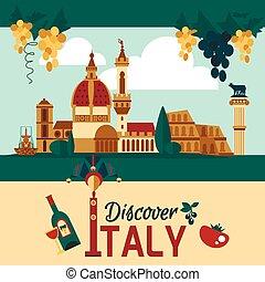 Italy Touristic Poster - Italy touristic poster with...