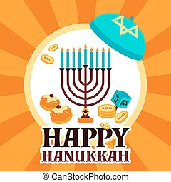 Hanukkah Holiday Card - Hanukkah holiday card with menorah...