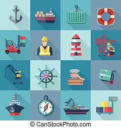 Sea Port Icons Set - Sea port flat icons set with anchor...