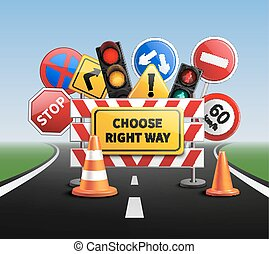 Choose Right Way Realistic Concept - Choose right way...