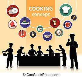 Cooking People Concept - Cooking people concept with food...