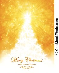 White golden Merry Christmas Card with tree and light burst...
