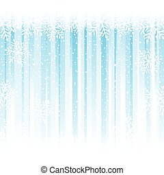 Snowflakes over light blue stripes, abstract winter background
