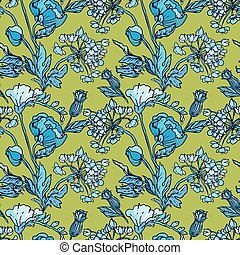 Seamless pattern with flowers - poppy and sweet pea in blue...