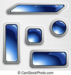 Blue brushed steel banners and buttons - Collection of...