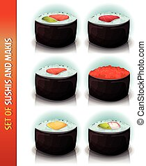 Asian Sushis And Makis Set - Illustration of a set of...