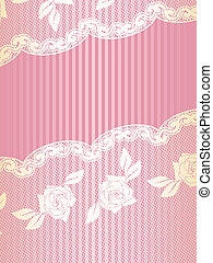 Gold and pink French lace background, vertical