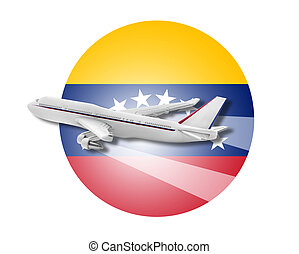 Plane and Venezuela flag - Plane on the background flag of...