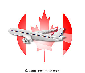 Plane and Canada flag. - Plane on the background flag of the...