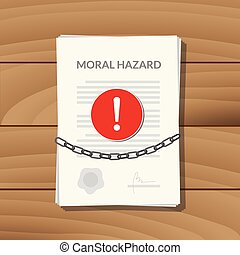 moral hazard with paper chain and alert sign