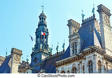 The Hotel de Ville, City Hall in Paris, France - The Hotel...