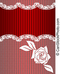 White and red French lace background, vertical