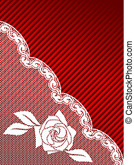 White and red French lace background, diagonal