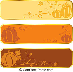 Pumpkin banners with gold rim - Three seasonal banners of...