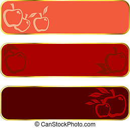 Red apple banners with gold rim