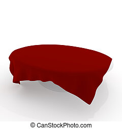 White table with red cloth