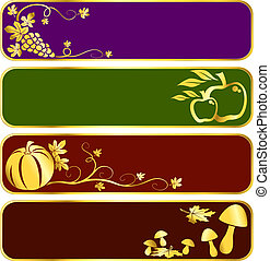 Gold harvest banners - Four seasonal banners with a harvest...