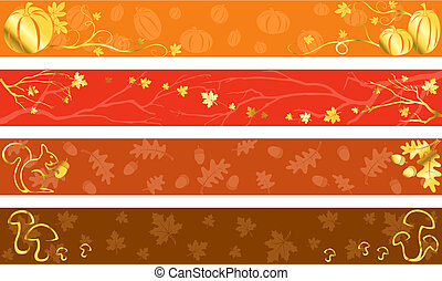 Autumn banners in warm colors