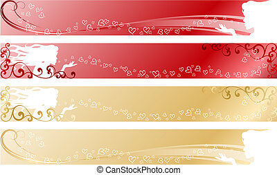 Love themed banners - stylish vector banners with a wedding...