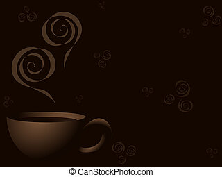 Steaming coffee background