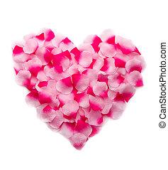 Pink rose petals heart - Pink rose petals forming a heart....
