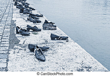 BUDAPEST, HUNGARY - October 12: Iron shoes memorial to...