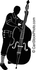 musicians - Male musician playing the a double bass
