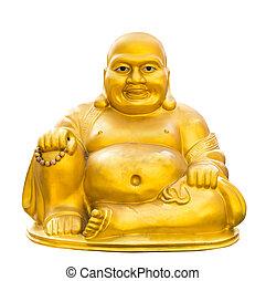 Gold buddha isolated - Golden buddha isolated on white...