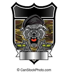 Cougar Panther Mascot Head military