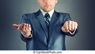 Guess hand - Businessman with guess hand signs