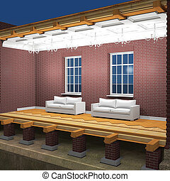 Cross section of brick house at night 3D rendering