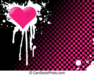 Emo heart background in pink - Urban style background with...