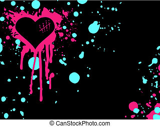 Black Emo heart background