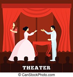 Theatre Stage Performance With Audience poster - Theatre...
