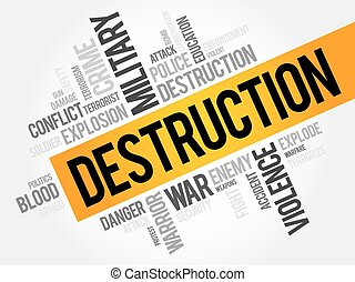 DESTRUCTION word cloud concept