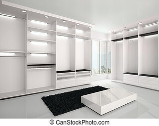 3d illustration of Luxurious white wardrobe in a modern...