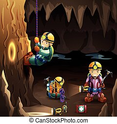Speleologists in cave 3d background poster - Professionally...