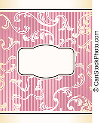 Romantic elegant French retro label in pink