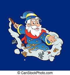 Cute Cartoon Wizard - Vector Cartoon illustration of a Happy...