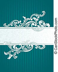 Vertical French retro banner in green - Elegant Banner...