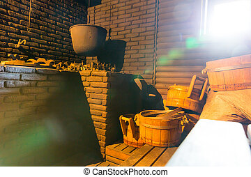 Bath-house - Cauldron for boiling water in the old...